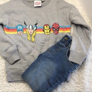 Marvel Avengers Distressed Sweater with Jeans